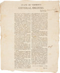 Autographs:Military Figures, Vermont Military Broadside....
