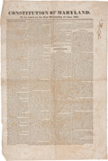 Miscellaneous:Broadside, Constitution of Maryland Broadside. ...