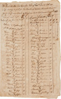 Autographs:Military Figures, Revolutionary War: African-American Troop Payroll....