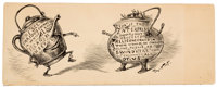 THOMAS NAST (American, 1840-1902) Pot and Kettle Pen on board 4.25 x 11 in. Signed lower right