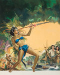 Pulp, Pulp-like, Digests, and Paperback Art, REYNOLD BROWN (American, 1917-1991). Love-Slaves of the Amazons,original movie poster illustration, 1957. Gouache and t...(Total: 2 Items)