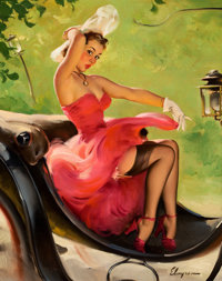 GIL ELVGREN (American, 1914-1980) Up in Central Park, 1950 Oil on canvas 30 x 24 in. Signed lo