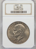 Eisenhower Dollars: , 1977 $1 MS65 NGC. NGC Census: (1740/286). PCGS Population(1094/809). Mintage: 12,596,000. Numismedia Wsl. Price forproble...