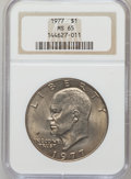 Eisenhower Dollars: , 1977 $1 MS65 NGC. NGC Census: (1740/285). PCGS Population (1089/808). Mintage: 12,596,000. Numismedia Wsl. Price for proble...