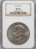Eisenhower Dollars: , 1977-D $1 MS65 NGC. NGC Census: (1593/134). PCGS Population (1315/427). Mintage: 32,983,006. Numismedia Wsl. Price for prob...
