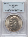 Eisenhower Dollars: , 1976-D $1 Type Two MS65 PCGS. PCGS Population (1680/790). NGC Census: (938/253). Mintage: 82,179,568. Numismedia Wsl. Price...