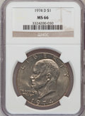 Eisenhower Dollars: , 1974-D $1 MS66 NGC. NGC Census: (476/7). PCGS Population (425/14). Mintage: 45,517,000. Numismedia Wsl. Price for problem f...