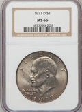 Eisenhower Dollars: , 1977-D $1 MS65 NGC. NGC Census: (3690/449). PCGS Population (1317/427). Mintage: 32,983,006. Numismedia Wsl. Price for prob...