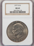 Eisenhower Dollars: , 1977-D $1 MS65 NGC. NGC Census: (1593/134). PCGS Population (1317/427). Mintage: 32,983,006. Numismedia Wsl. Price for prob...