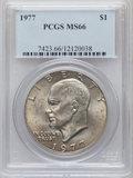 Eisenhower Dollars: , 1977 $1 MS66 PCGS. PCGS Population (795/14). NGC Census: (278/7). Mintage: 12,596,000. Numismedia Wsl. Price for problem fr...