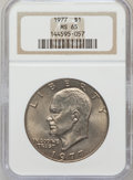 Eisenhower Dollars: , 1977 $1 MS65 NGC. NGC Census: (1740/285). PCGS Population (1093/809). Mintage: 12,596,000. Numismedia Wsl. Price for proble...