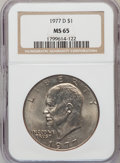 Eisenhower Dollars: , 1977-D $1 MS65 NGC. NGC Census: (1593/134). PCGS Population (1316/427). Mintage: 32,983,006. Numismedia Wsl. Price for prob...