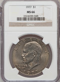 Eisenhower Dollars: , 1977 $1 MS66 NGC. NGC Census: (279/7). PCGS Population (795/14). Mintage: 12,596,000. Numismedia Wsl. Price for problem fre...