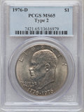 Eisenhower Dollars: , 1976-D $1 Type Two MS65 PCGS. PCGS Population (1691/792). NGC Census: (938/253). Mintage: 82,179,568. Numismedia Wsl. Price...