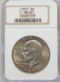 Eisenhower Dollars: , 1977 $1 MS65 NGC. NGC Census: (1740/287). PCGS Population (1095/809). Mintage: 12,596,000. Numismedia Wsl. Price for proble...