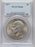 Eisenhower Dollars: , 1977 $1 MS66 PCGS. PCGS Population (795/14). NGC Census: (279/7). Mintage: 12,596,000. Numismedia Wsl. Price for problem fr...