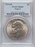 Eisenhower Dollars: , 1976-D $1 Type Two MS65 PCGS. PCGS Population (1691/791). NGC Census: (938/253). Mintage: 82,179,568. Numismedia Wsl. Price...