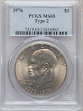 Eisenhower Dollars: , 1976 $1 Type Two MS65 PCGS. PCGS Population (1478/408). NGC Census: (1278/292). Mintage: 113,318,000. Numismedia Wsl. Price...