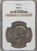 Eisenhower Dollars: , 1974-D $1 MS66 NGC. NGC Census: (321/7). PCGS Population (425/14). Mintage: 45,517,000. Numismedia Wsl. Price for problem f...