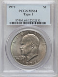 Eisenhower Dollars, 1972 $1 Type One MS64 PCGS. PCGS Population (823/279). Numismedia Wsl. Price for problem free NGC/PCGS ...