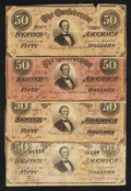 Confederate Notes:1864 Issues, T66 $50 1864. Four Examples. . ... (Total: 4 notes)