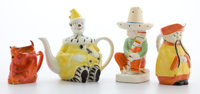 Whoopi Goldberg Collection  FOUR CERAMIC FIGURAL KITSCH PIECES 20th century Marks to tea pot: