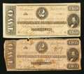 Confederate Notes:1863 Issues, T61 $2 1863. T70 $2 1864.. ... (Total: 2 notes)