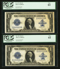 Large Size:Silver Certificates, Fr. 237 $1 1923 Silver Certificates Solid Nines and 100000000Rollover Pair PCGS New 61.. ... (Total: 2 notes)