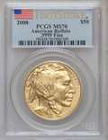 Modern Bullion Coins, 2008 G$50 Buffalo First Strike MS70 PCGS. .9999 Fine. PCGSPopulation (1313). NGC Census: (0). (#393328)...