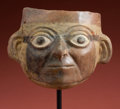 Antiques:Antiquities, Uncommon Mochica IV Ceramic Portrait Mask...
