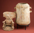 American Indian Art:Pottery, Large Sinu Two Part Urn with Seated Figure... (Total: 2 Items)