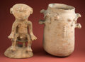 American Indian Art:Pottery, Rio Magdalena Covered Urn with Human... (Total: 2 Items)