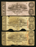 Confederate Notes:1862 Issues, 1862 and 1863 $10's.. ... (Total: 3 notes)