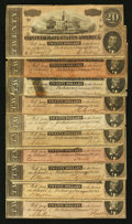 Confederate Notes:1864 Issues, T67 $20 1864 Ten Examples.. ... (Total: 10 notes)