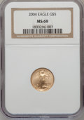 Modern Bullion Coins, 2004 G$5 Tenth-Ounce Gold Eagle MS69 NGC. NGC Census: (6305/3683).PCGS Population (7024/238). Numismedia Wsl. Price for p...