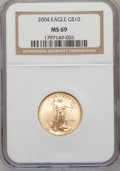 Modern Bullion Coins, 2004 G$10 Quarter-Ounce Gold Eagle MS69 NGC. NGC Census:(2323/1236). PCGS Population (14044/418). Numismedia Wsl. Pricef...