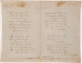 "Autographs:Authors, Samuel Francis Smith Autograph Manuscript Signed of His Most Famous Composition, ""America.""..."