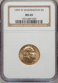 Modern Issues: , 1999-W G$5 Washington Gold Five Dollar MS69 NGC. NGC Census:(637/722). PCGS Population (1852/133). Numismedia Wsl. Price ...