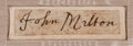 Autographs:Authors, John Milton Signature....