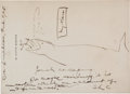 Autographs:Authors, Samuel Clemens Autograph Note Signed and Original Drawing....
