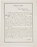 "Miscellaneous:Ephemera, [John Quincy Adams] Naval General Order Death Announcement. Onepage with blank integral, 8"" x 10"", n.p., February 24, 1848...."