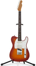 Musical Instruments:Electric Guitars, 1980's Fender FOTO-Flame MIJ Tele Cherry Sunburst Solid Body Electric Guitar #T007896...
