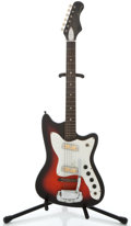Musical Instruments:Electric Guitars, 1960's Harmony Bobcat Redburst Solid Body Electric Guitar ...