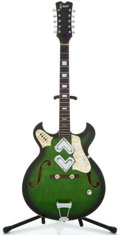 Musical Instruments:Electric Guitars, 1960's Greco Japan Green Burst 12 String Semi-Hollow Body ElectricGuitar ...
