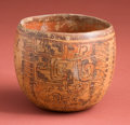 Antiques:Antiquities, Maya Cup with Plumed Deities...