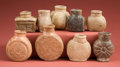 American Indian Art:Pottery, Collection of Nine Miniature Maya Poison Bottles... (Total: 9Items)