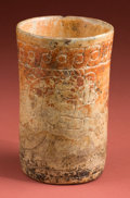 American Indian Art:Pottery, Maya Orange Vase with Standing Iguana...