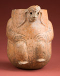 American Indian Art:Pottery, Maya Orangeware Vase of Man Missing Eyes...