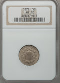 Shield Nickels: , 1872 5C MS62 NGC. NGC Census: (23/141). PCGS Population (19/215).Mintage: 6,036,000. Numismedia Wsl. Price for problem fre...