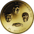 Mexico: , Mexico: Modern gold commemorative medal, inauguration of 29 August1963: three portraits (Kennedy on left), with a symbolichandshak...
